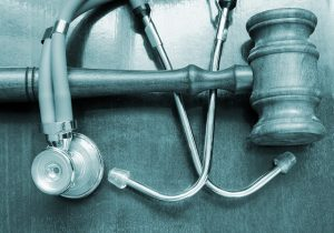gavel and a stethoscope
